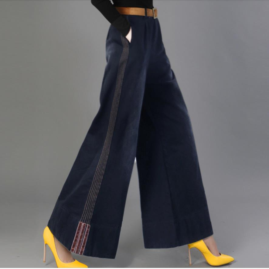 Women Wide leg   Jeans   Autumn Winter High Waist Straight Long   Jeans   Fashion Vintage Washed   Jeans   plus size