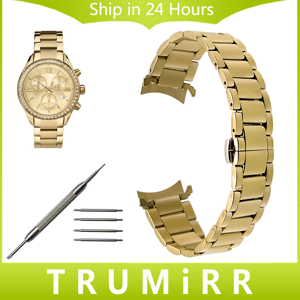 Stainless Steel Watchband Curved End Strap for Timex Men Women Watch Band Wrist Bracelet Gold Black 14mm 16mm 18mm 20mm 22mm watchband stainless steel metal watch bands curved end 18mm 20mm 22mm 24mm silver black for common men watches safety buckle new