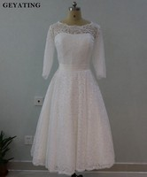 Robe De Mariee 2018 Vintage Lace Tea Length Wedding Dress With Sleeves Retro 1950 S Style