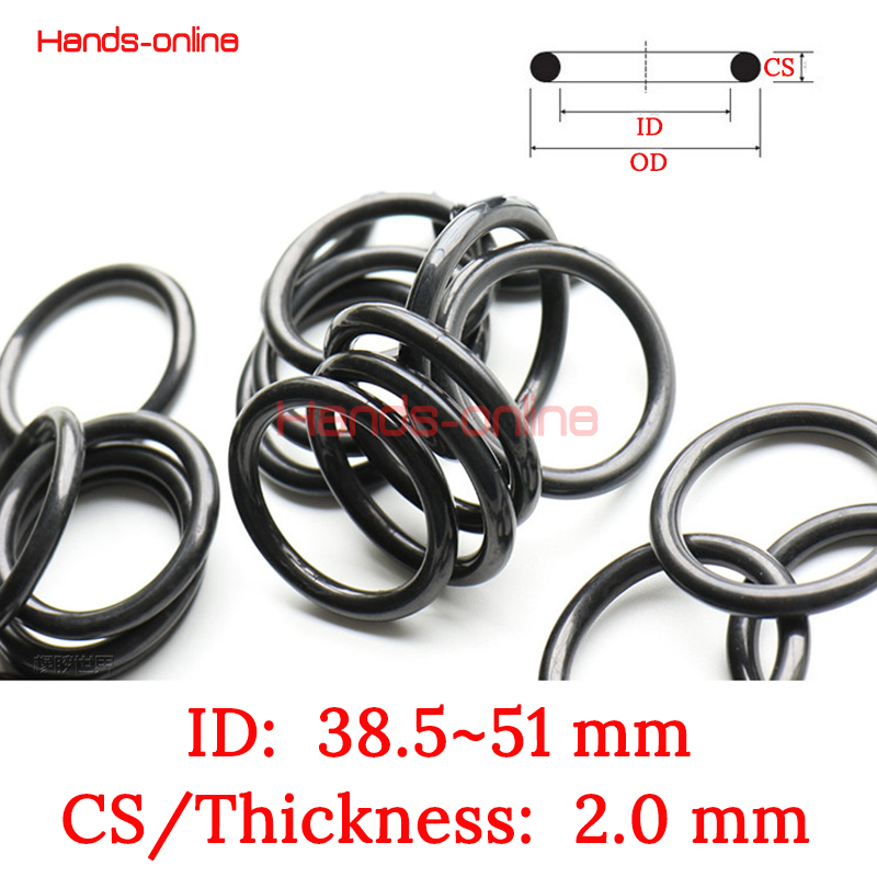 10Pcs NBR ID 38.5 39 39.5 40 41 42 43 43.5 44 45 45.5 46 46.5 47 47.5 48 49 49.5 <font><b>50</b></font> 51 mm Oil Seal Rubber O Rings wire 2mm black image