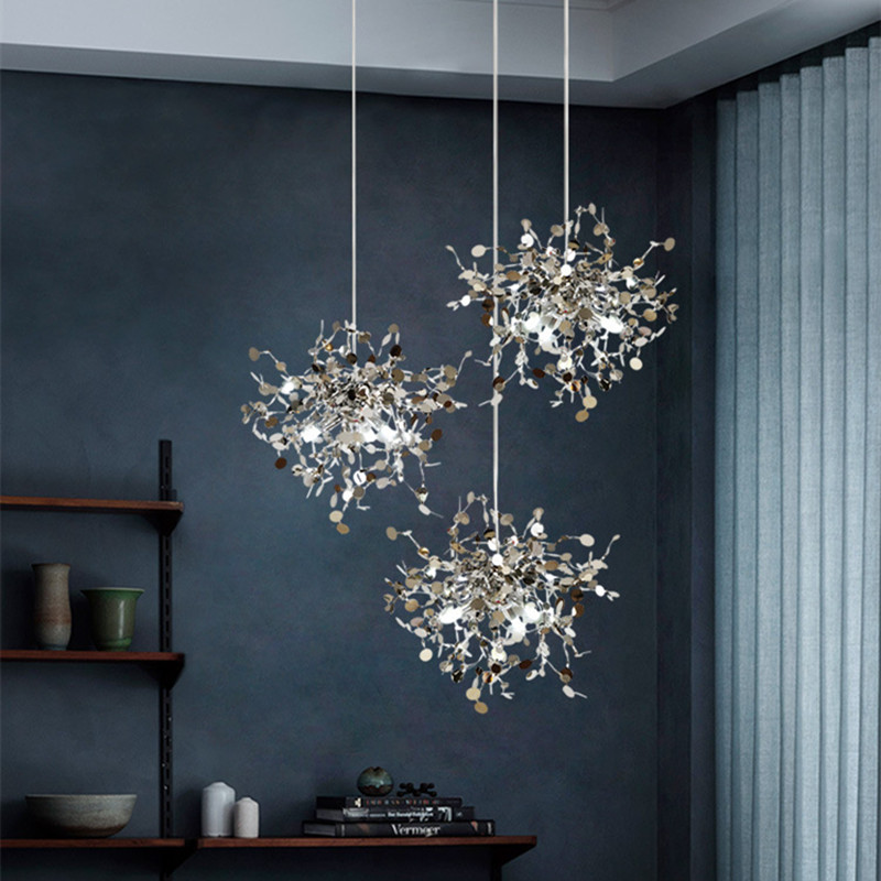 Nordic Terzani Argent Parlor Pendant Light Creative Stainless Steel Leaf Hotel Hall Art Gallery Decoration Indoor