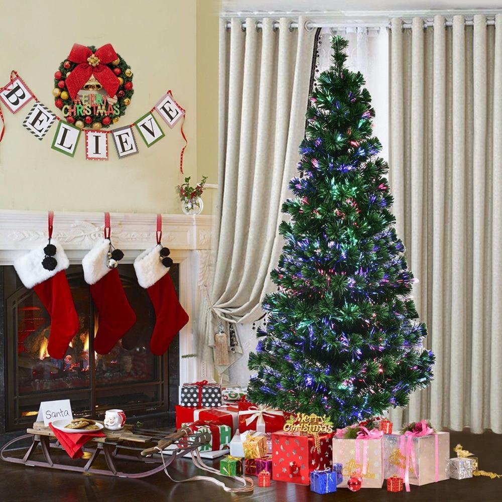 Giantex 6Ft Pre Lit Fiber Optic Artificial PVC Christmas Tree w Metal Stand Holiday Modern Home