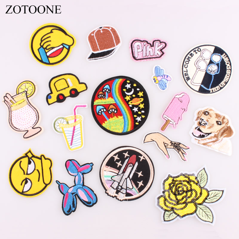 ZOTOONE Dog Flower Finger Space Patch For Clothing Embroidered Patch Apparel Fabric Sewing beaded Applique DIY Clothes Sticker C ...