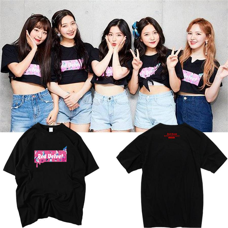 US $14 99 |Kpop Red Velvet Red Room in Japan Concert Graphic Cotton T Shirt  Fashion Tee Loose Tshirt for Men and Women-in T-Shirts from Women's