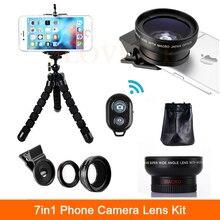 High Definition 0.45X ШИРОКОУГОЛЬНЫЙ Объектив 12.5X Макрообъектив С Зажимами Мобильный Штатив Bluetooth Дистанционного 7in1 Телефон Камеры Линзы Комплект