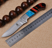 Hunting Knife Fixed 7CR17MOV Blade Knife Browning Colorful Handle 58HRC Survival Tactical Knifes Camping Knives Outdoor Tools