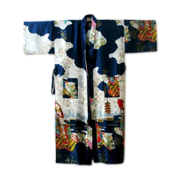 Azul marinho mulheres Chinesas Seda Rayon Robe Kimono Bath Vestido camisola Tamanho Sml XL XXL XXXL Frete Grátis W4S003