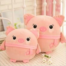 цена на Lovely Pink Pig Short Plush Toy Doll Soft Stuffed Animal Plush Pillow Girls Birthday Gift