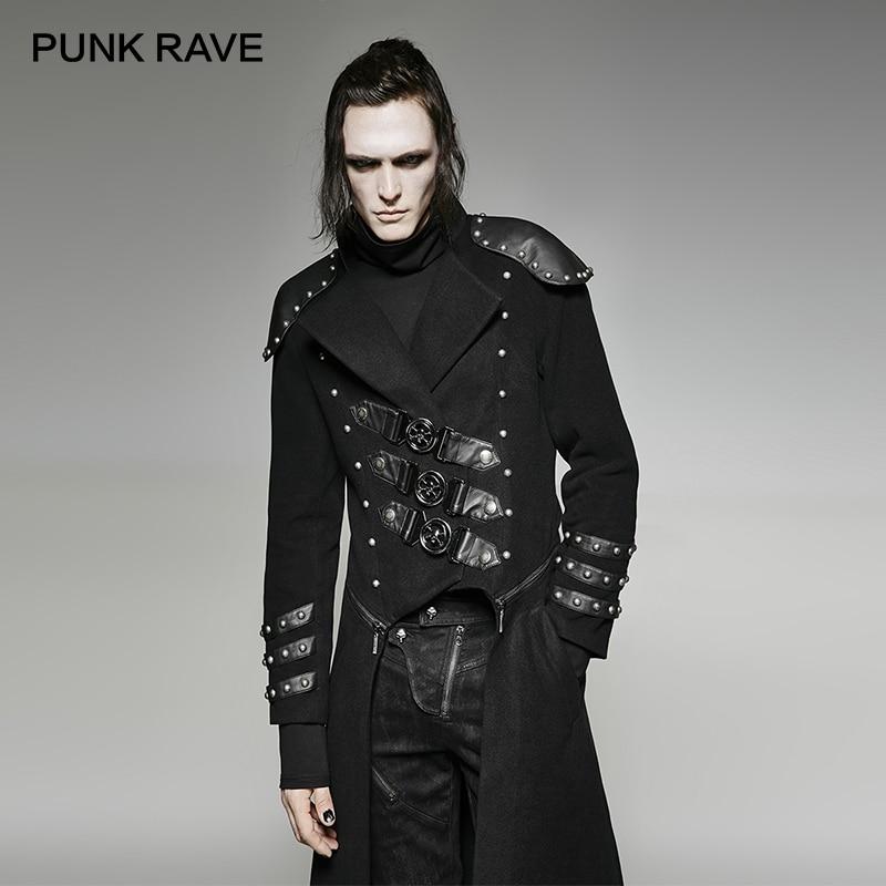 Панк РЕЙВ панк Мужская зимняя длинная куртка съемный военная форма Armour заклепки куртка шерстяное длинное пальто повседневное черное пальт