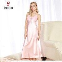 M XL Women Long Satin Nightgown Night Dress Lace Patchwork Trim Bifurcated Hem Sexy Sleeping Dress