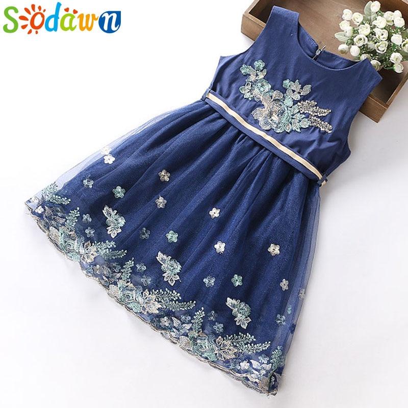 Sodawn 2018 Summer Girls Dress Flower Embroidery Children Clothing Party Princess Dress Girls Clothing Wedding Dresses 5-12Y