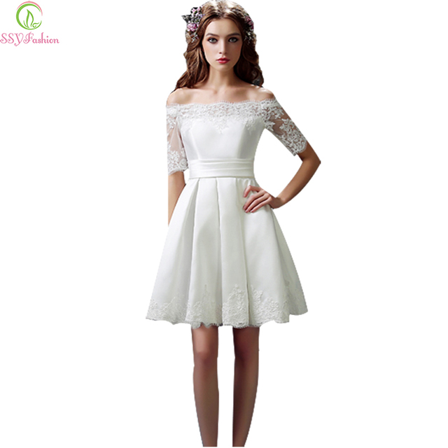 bb6f9b31e58 SSYFashion White Evening Dresses Bride Married Lace Short Sleeve A-line  Off-the-shoulder Sweet Formal Dress Plus Size Prom Dress