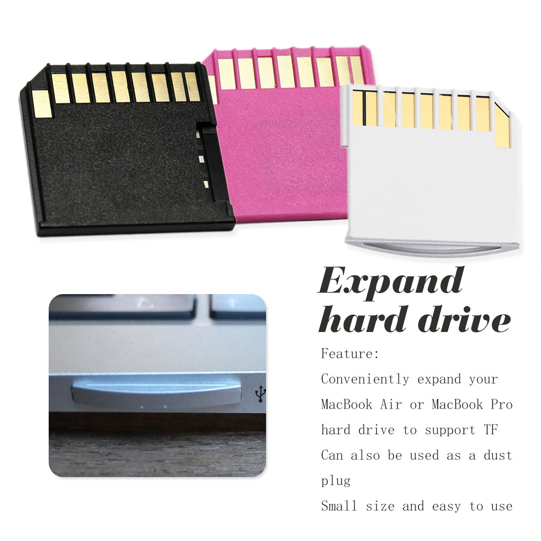 White Card Adapter For MacBook Air Pro Mini Card Set  Air Pro TF To MacBook Flash Drive For MacBook Air Up To 64G
