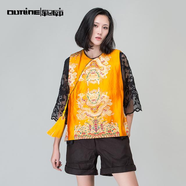 Outline marca mujeres otoño chaleco flojo con bordado nacional de la tendencia ocasional outwear en chino estilo vintage chaleco corto l164y010