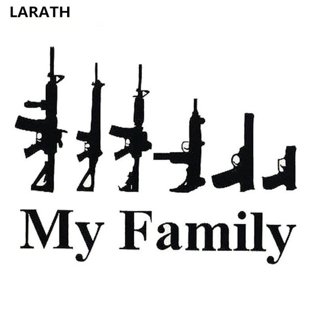 2017 my family cartoon gun car stickers funny window laptop vinyl car styling motorcycle decals