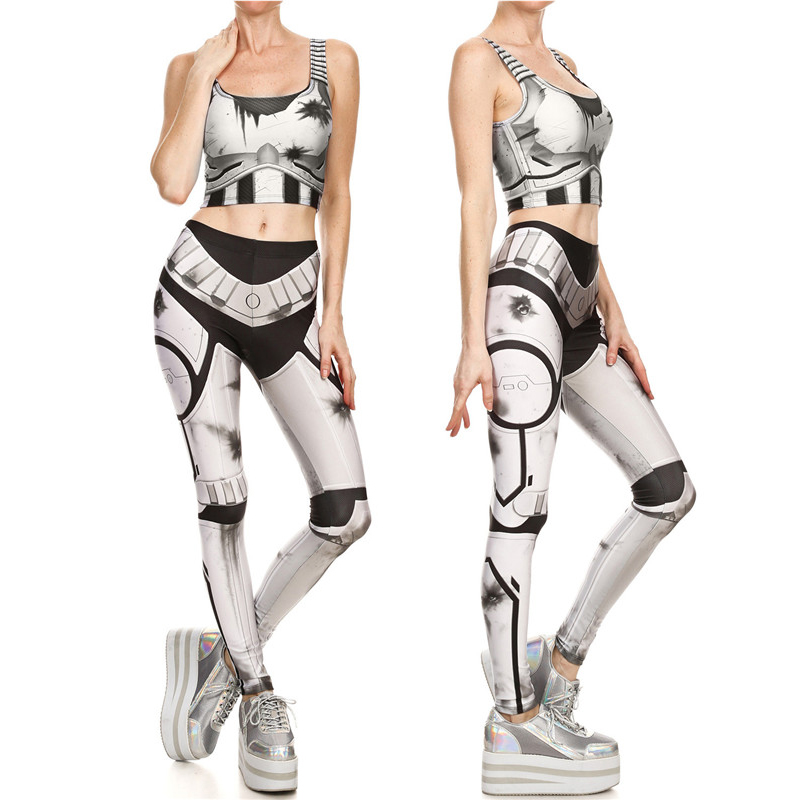 2017 New Fashion Star Wars Imperial Stormtroope Crop Tops and Leggings Sets Sexy Women Cosplay Costumes Summer Tight Bodysuit