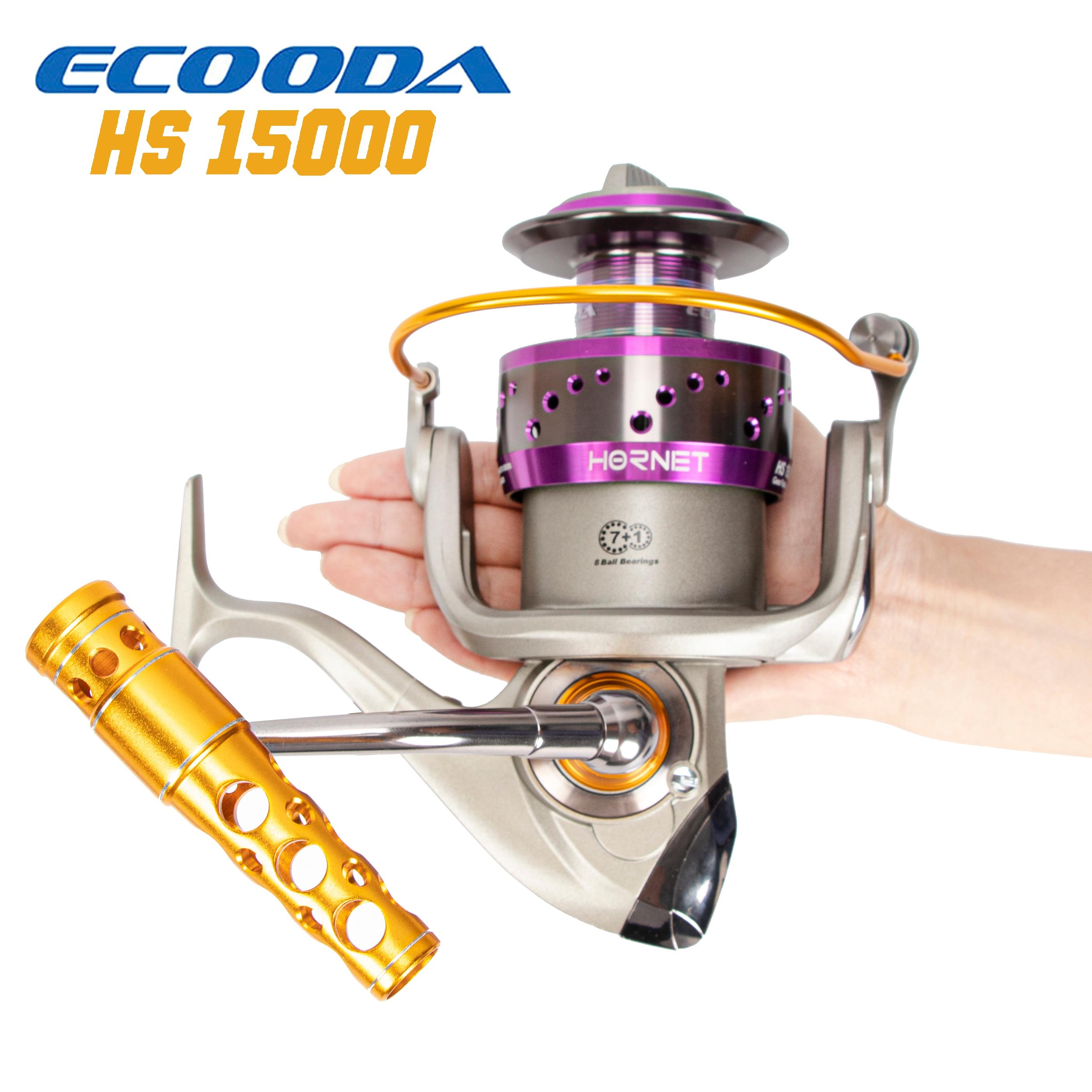 ECOODA 2019 NEW Hornet 15000 Heavy Duty Metal Spinning Fishing Reels Saltwater Boat Rock Trolling Jigging