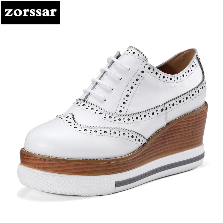 {Zorssar} 2018 NEW Arrival Genuine leather Fashion Womens shoes Round toe Wedges Shoes high heel Ladies Platform Pumps genuine cow leather spring shoes wedges soft outsole womens casual platform shoes high heel round toe handmade shoes for women