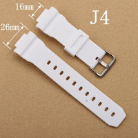 16mm White Watchband Silicone Rubber Bands For Watches EF Replace Electronic Wristwatch Band Sports Watch Straps