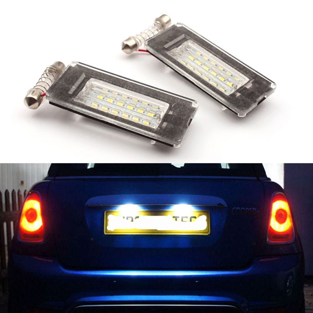 2pcs White LED License Plate Light 18 SMD-3528 Light Source Auto Bulbs Plate Lamp For BMW MINI R56 Car Accessories OE:PZDS0023 cawanerl car canbus led package kit 2835 smd white interior dome map cargo license plate light for audi tt tts 8j 2007 2012