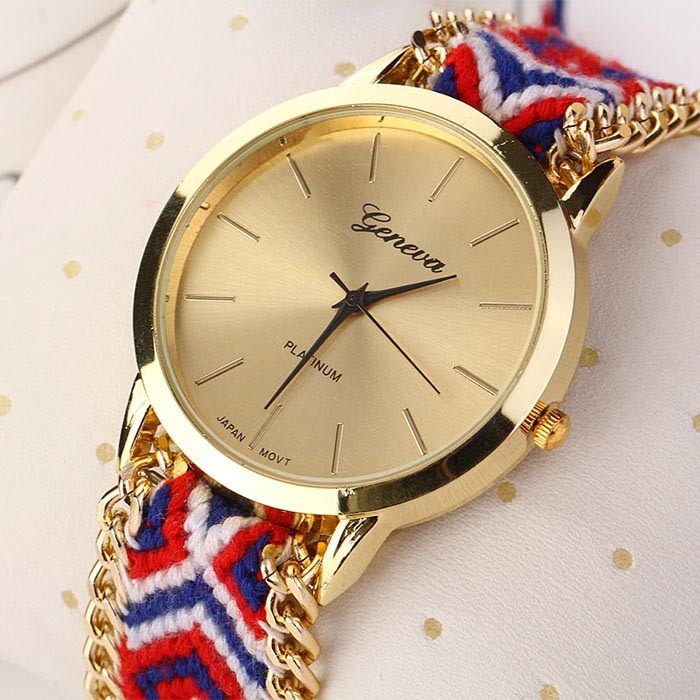 2018 Fashion Women Watch Knitted Braided Weaved Rope Band Bracelet Quartz Analog Wrist Watch Special Gift ational Style#121