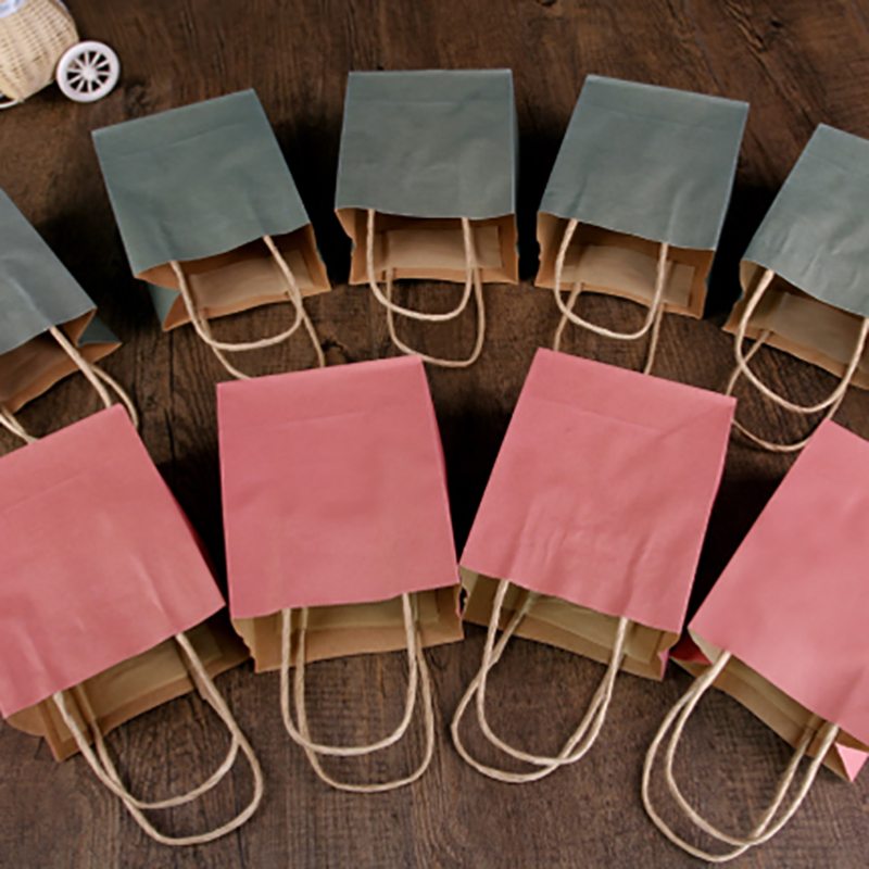 Solid Color Paper Gift Bag 15x12x7cm Kraft Paper Bags For Wedding Party Shopping Festive Gift Bags Chocolate Candy Packing