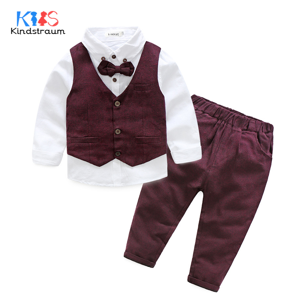 Kindstraum 3pcs Kids Gentelman Wedding Suits Cotton Vest+Solid Shirt+Pant Boys Party Formal Suits Children Clothing Sets, MC948 boys clothing set striped vest pant shirt suits formal outfits kids school uniform baby children wedding party boy clothes sets