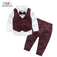 Kindstraum 3pcs Kids Gentelman Wedding Suits Cotton Vest+Solid Shirt+Pant Boys Party Formal Suits Children Clothing Sets, MC948