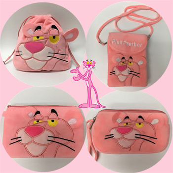 Candice guo forest animal pink panther leopard plush coin package handbag purse pencil storage phone bag toy gift pencilbag 1pc