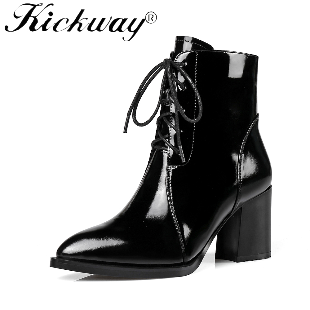 Kickway Fashion shoes woman platform boots spring autumn ankle boots for women genuine leather high heels shoes big size 34-42 spring autumn winter platform high heels ankle boots women short boots ladies shoes botas botte femme plus size 34 40 41 42 43