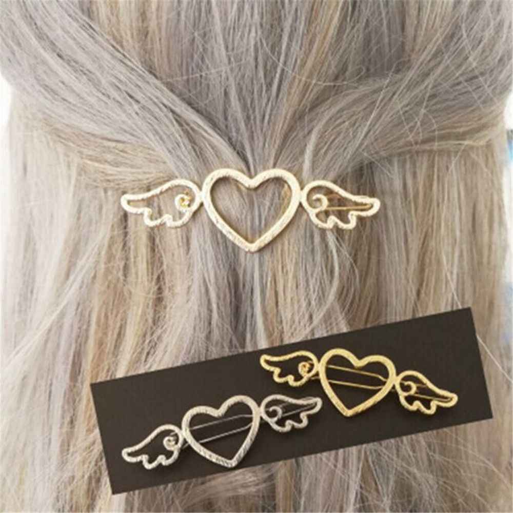 Fashion Woman Metal Angle Wings Love Heart Barrette Clips Pin Geometric Alloy Hair Clip Hairgrip Barrette Styling Tool For Girls