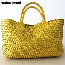 Brand New Ladies Gold Woven Leather Cross Stitch Hobo High-capacity Handbag Wome