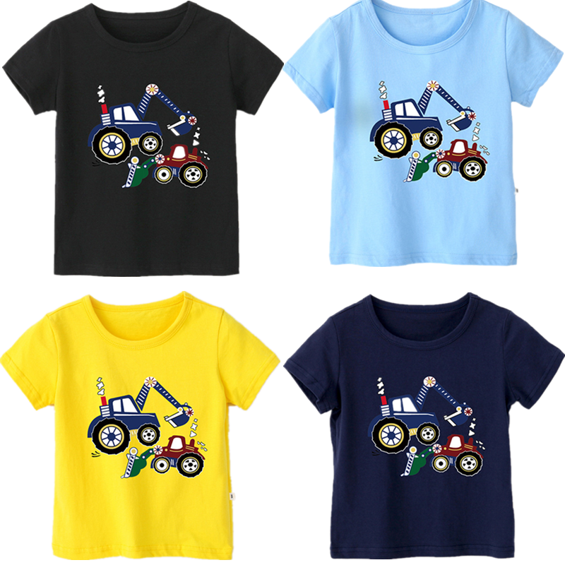 1-12 Years Baby Boy T-shirt New Summer Cotton Cartoon Car Tops Fashion Short-sleeved Children's T Shirt Kids Boys Clothes