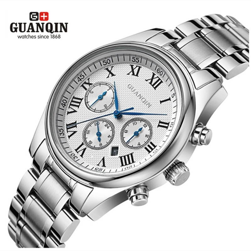 ФОТО Famous  GUANQIN Men Mechanical Watch Quartz Watches Dress Sapphire Analog Wrist Sports Wristwatches