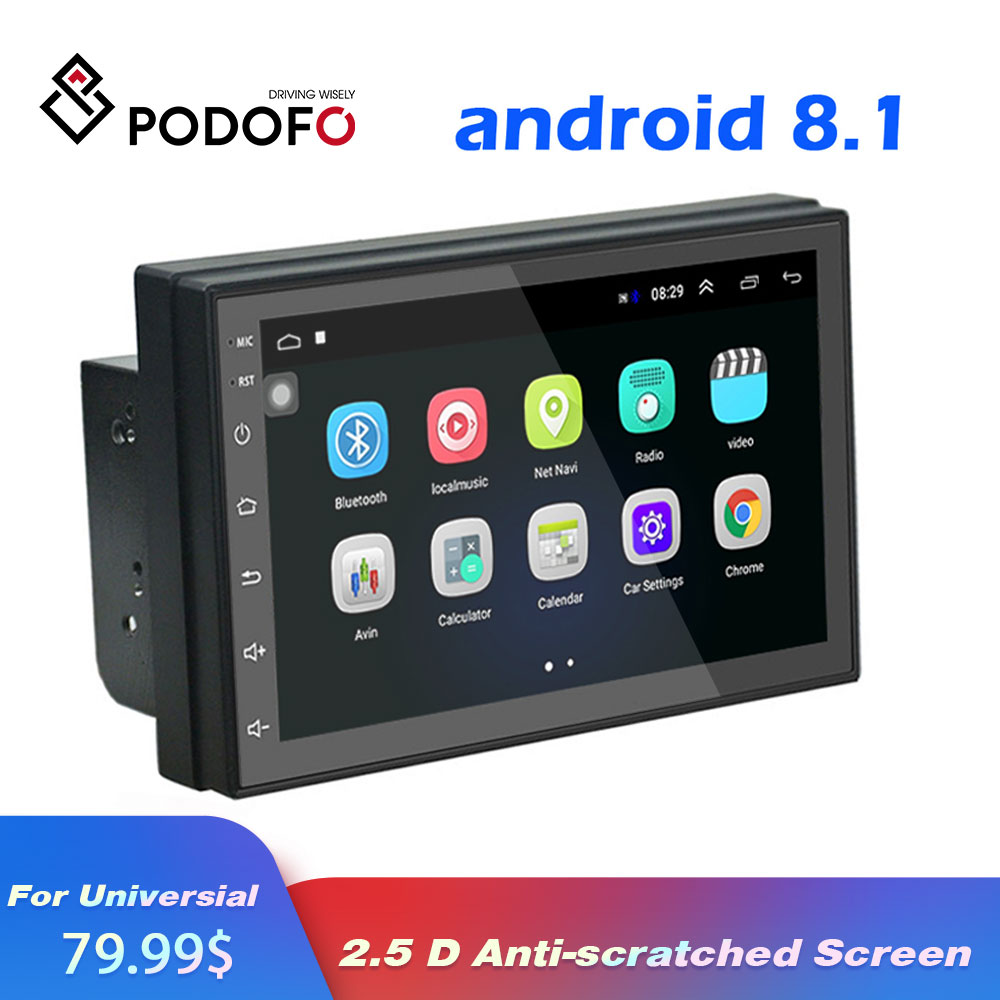 Podofo 2din android Car GPS Radio Universal Audio Multimedia For Volkswagen Nissan Toyota Hyundai auto Stereo Video DVD Player