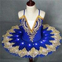 Professional Led Light Swan Lake Ballet Dress Tutu Costume Adult Ballerina Dress For Child Children Kids Girls Dancewear Stage