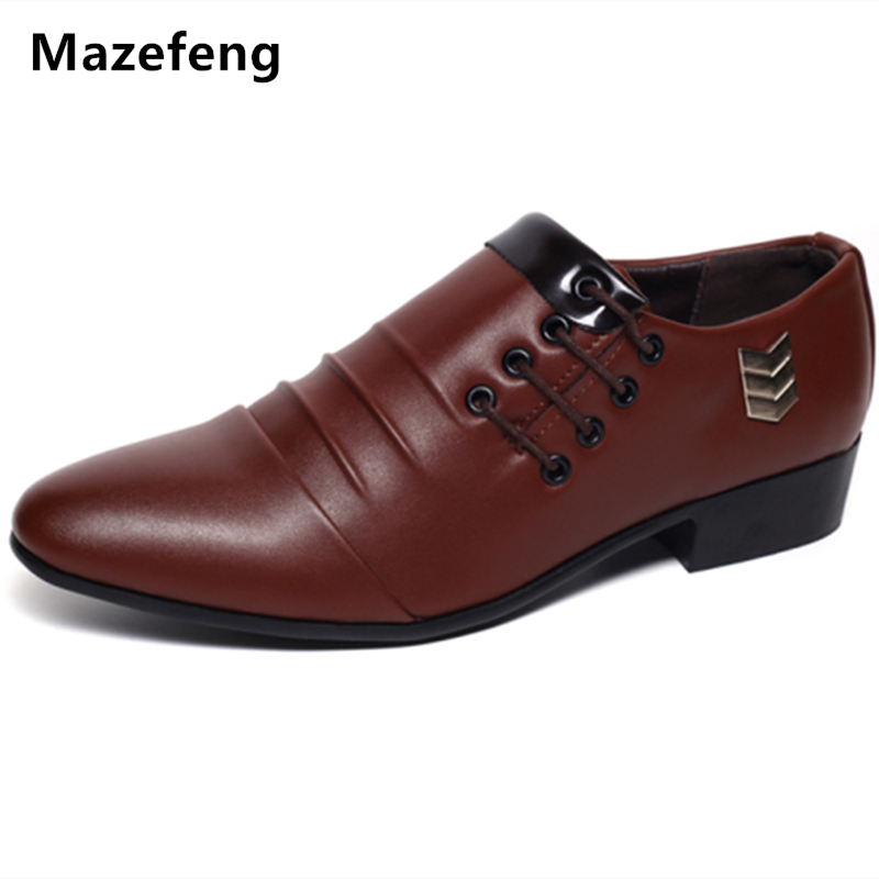 Mazefeng England Style Spring Men Wedding Shoes Business Pointed Toe Dress Shoes Leather Breathable Men Casual Shoes Flats Male england carved men s business dress shoes leather men s shoes european version breathable black and white fight color shoes