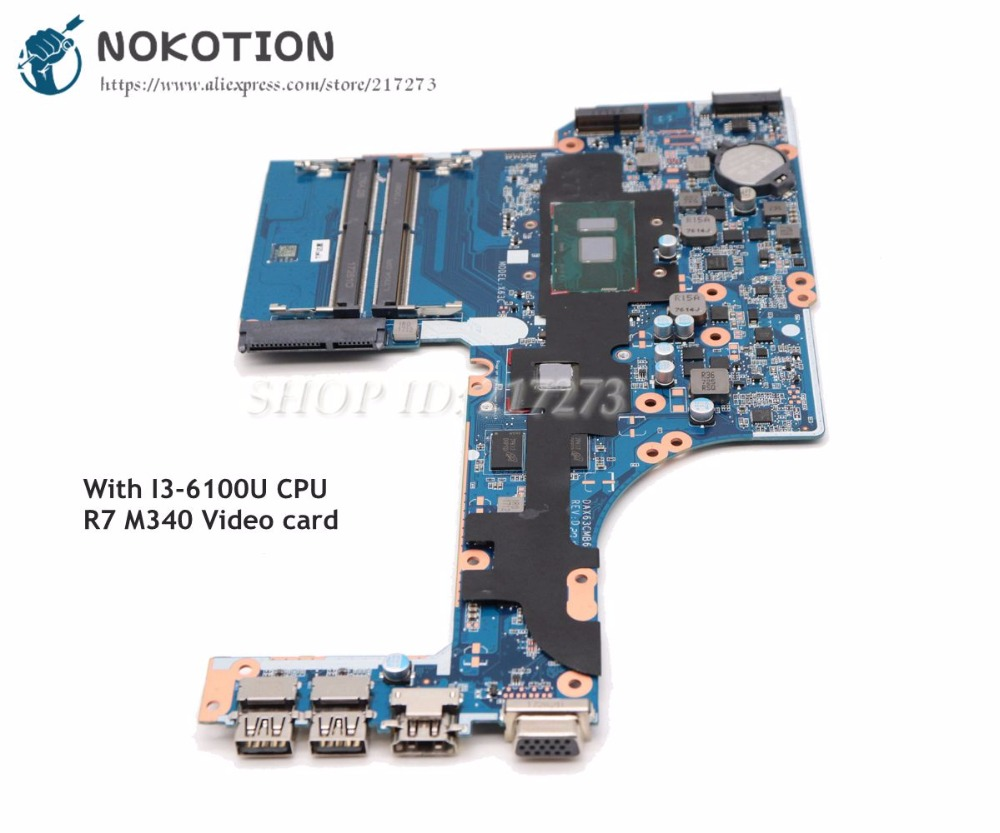 NOKOTION For HP Probook <font><b>450</b></font> G3 Laptop Motherboard DAX63CMB6D1 15.6'' MAIN BOARD SR2EU i3-6100U Radeon R7 M340 graphics image