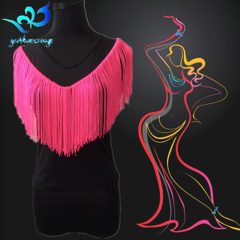 Free Shipping Latin Dance Costume Blouses Women Ballroom Dance T-Shirt Salsa Rumba Samba Tango Dance Top Fringe Costume Tops