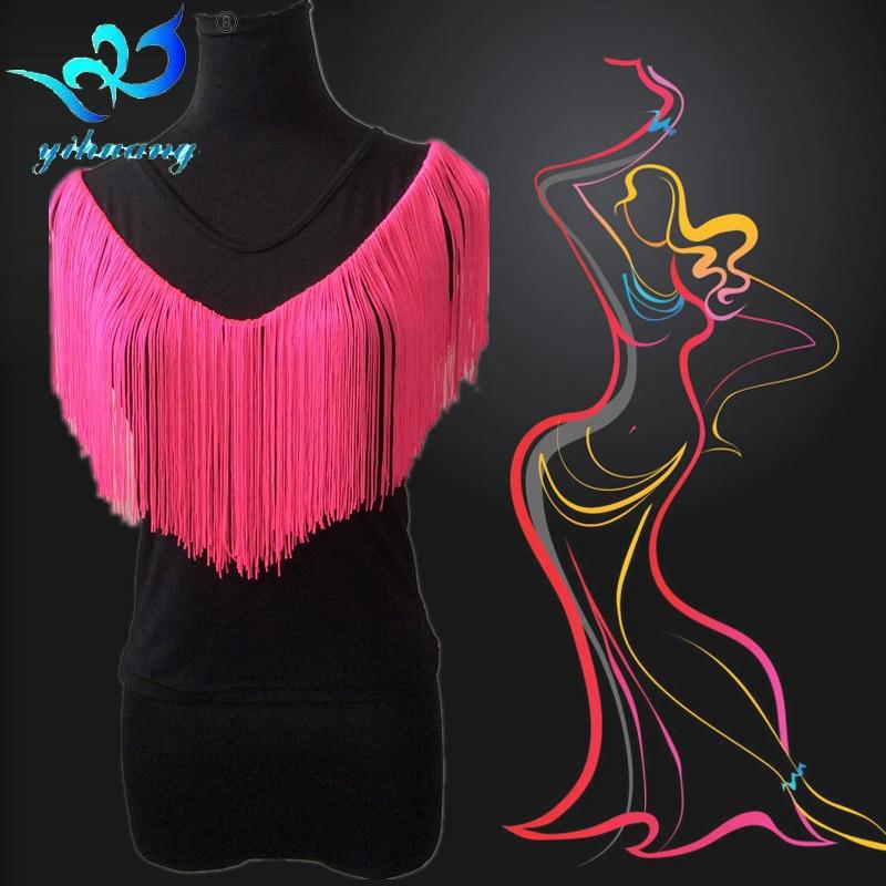 Envío gratis traje de baile latino Blusas Mujeres Ballroom Dance camiseta Salsa Rumba Samba Tango Dance Top Fringe vestuario Tops