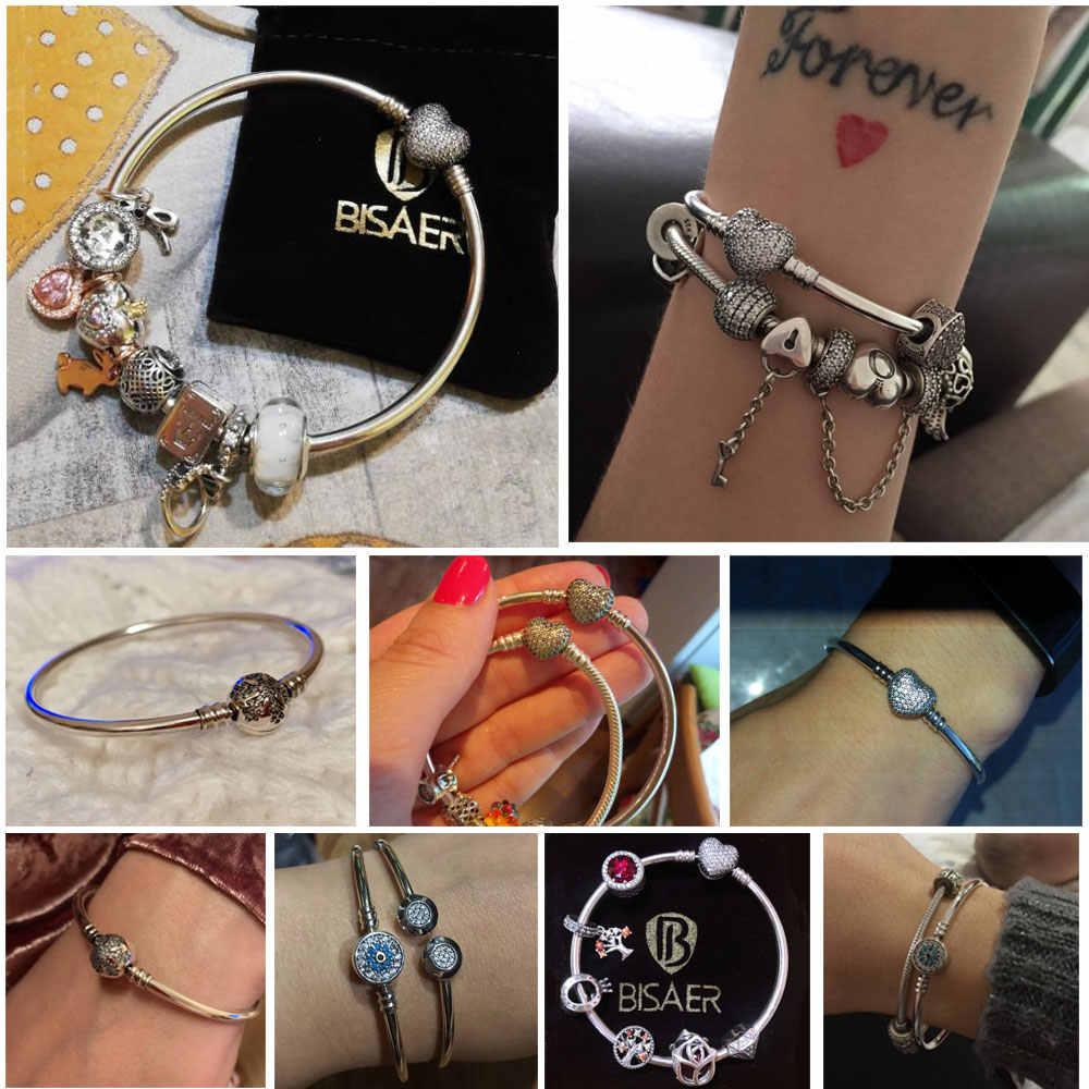 Pulsera de plata de ley 925 Pulseira, pulsera de mujer con copo de nieve, corazón, Ojo Azul, mujer, cadena de serpiente, pulseras y brazaletes de joyería de mujer