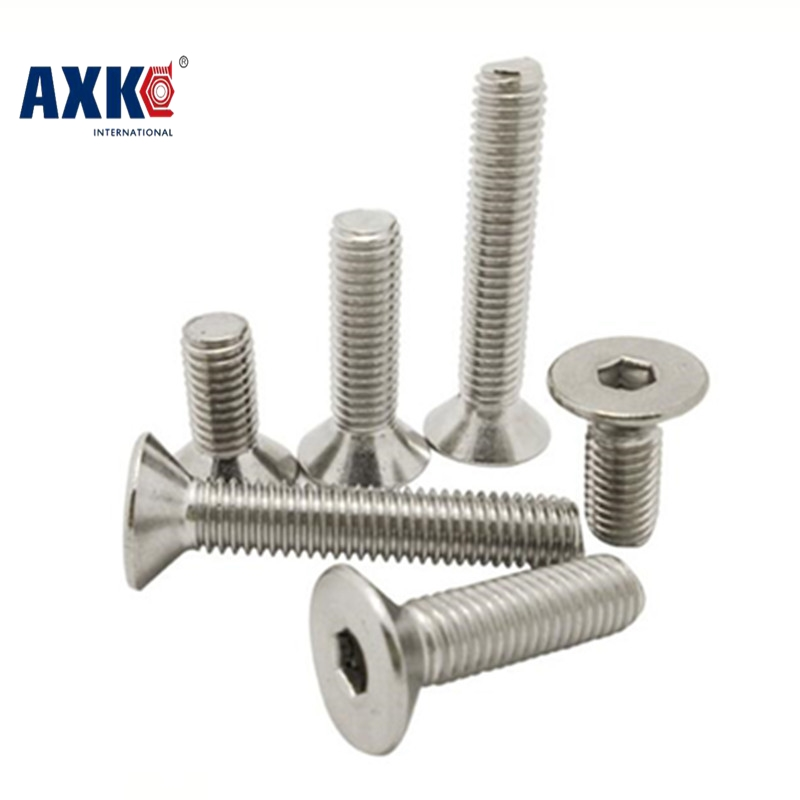 Axk 100pcs/lot Din7991 M2*3/4/5/6/8/10/12/14/16/20 Stainless Steel 304 Hex Hexagon Socket Flat Countersunk Head Machine Screw free shipping 100pcs din7991 m3x12 mm m3 12 mm flat head countersunk head 304 stainless steel hex socket head cap screw