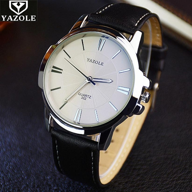 YAZOLE 332 Luxury watch men Stainless steel quartz leather strap business casual