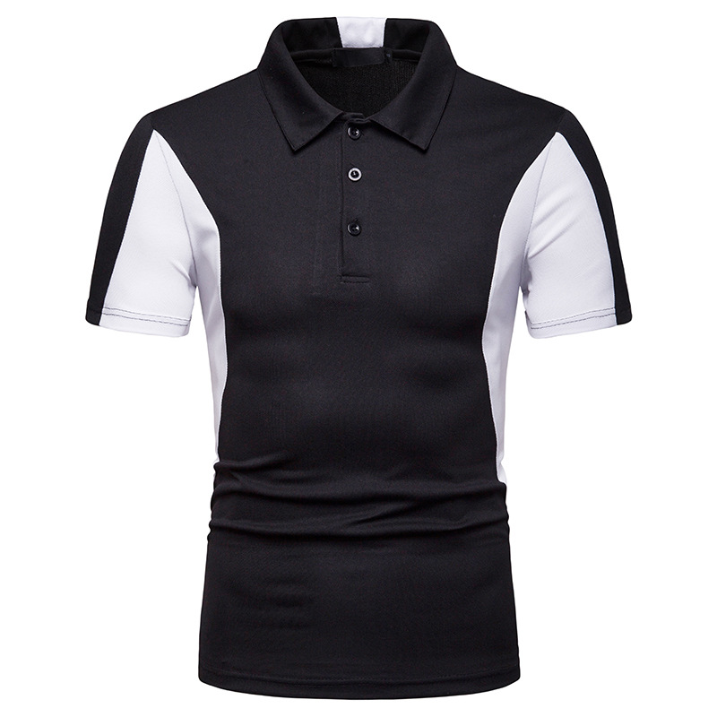 Miicoopie New Men's Short-sleeved   Polo   Shirt Stripe Color Matching Personalized Print   Polo   Shirt