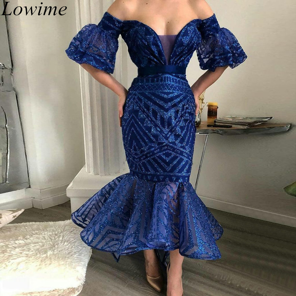 Modeat Navy Blue Plus Size   Cocktail     Dresses   2019 Off Shoulder Tea-Length Zipper Back Evening Prom Party Gowns Women Coquetel