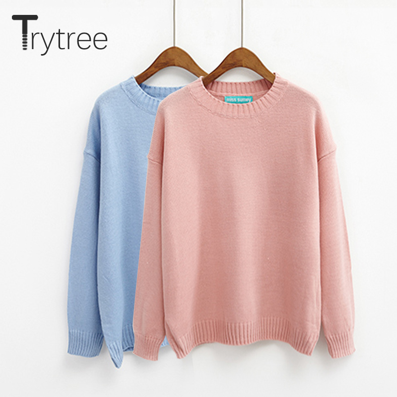 Trytree Autumn Winter Women Sweater Casual O-Neck Acrylic Sweater Solid Casual 14 Colors Pullovers Computer Knitwear Thin Tops
