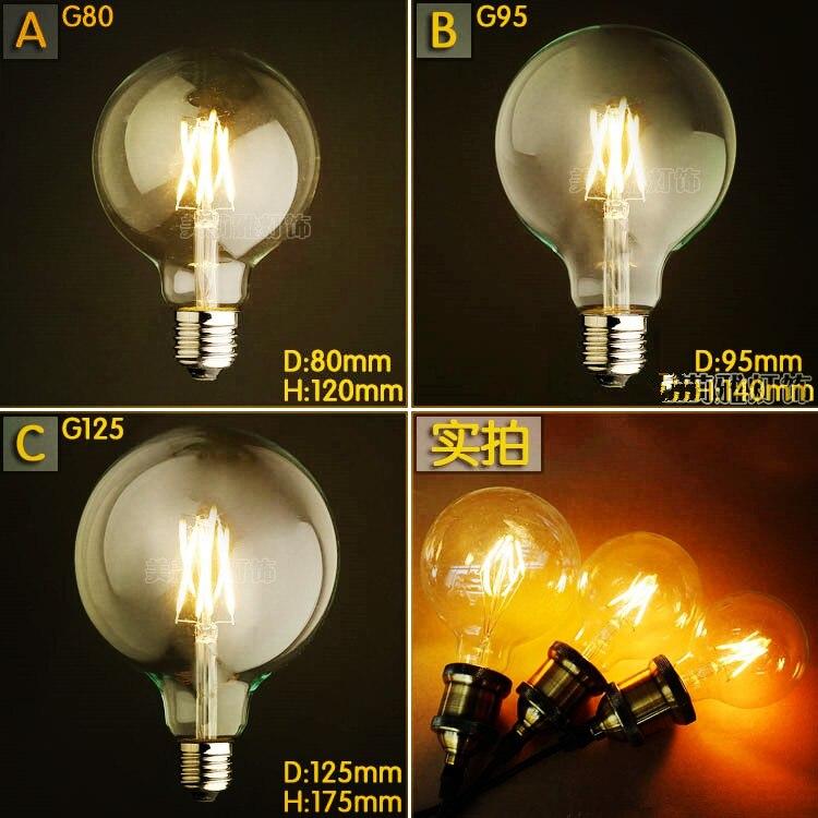 G80 G95 G125 4W LED Bombilla Edison Bulb Light Bombillas Vintage Bulb Light Lampada Edison Lamp Retro Ampoules Decoratives