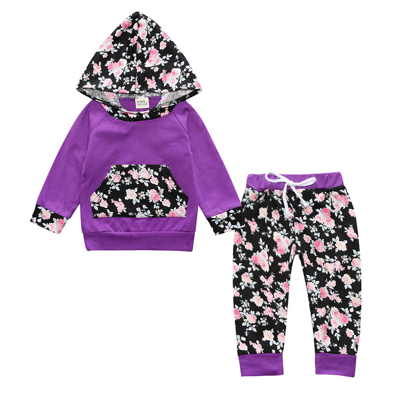 New Autumn Baby Girls Hooded Sweat Shirt Tops+Floral Pants 2pcs Outfits Set
