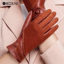 8ee2e86e3a BOOUNI de guantes de cuero de las mujeres de la moda de gamuza de piel de