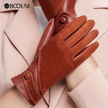 BOOUNI Genuine Leather Gloves Fashion Women Suede Sheepskin Glove Thermal Winter Velvet Lining Driving Gloves NW563 top quality women gloves wrist short genuine leather glove female winter thermal sheepskin for driving free shipping el031nr